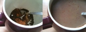 my stevia sweetened morning cup of spicy cocoa coffee