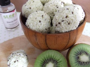 summer kiwi fruit coconut truffel recipe sweetened with stevia