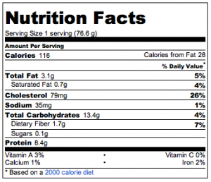 nutrition information table for quark waffle with stevia