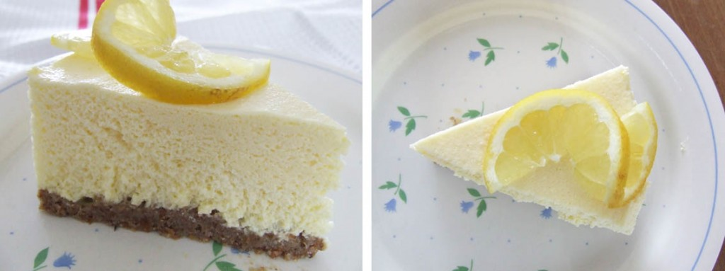 cheesecake decorated with  fresh lemon slices