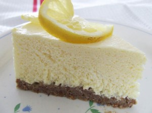 slice lemon quark fridge cheesecake -sugar free with stevia