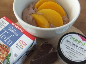 Silky cocoa tofu dessert sweetened with Stevia