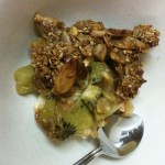 recipe for sugar free Kiwi Apple crumble ready to eat