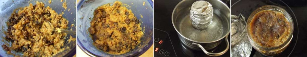 Recipe for No added sugar, gluten free Traditional British Christmas Pudding for ONE step by step