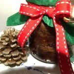 Stevia sweetened healthy gift wrapped Christmas pudding in glass, home made christmas present for friends
