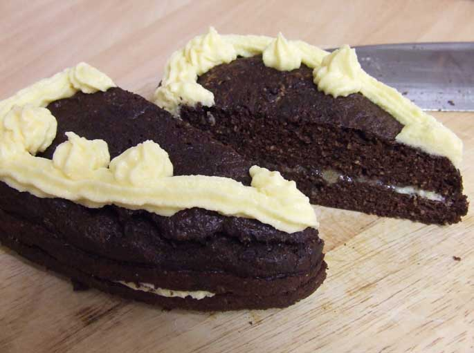 Coconut Flour Almond Sponge Cake - Sugar FREE with Stevia inside two half's of a heart
