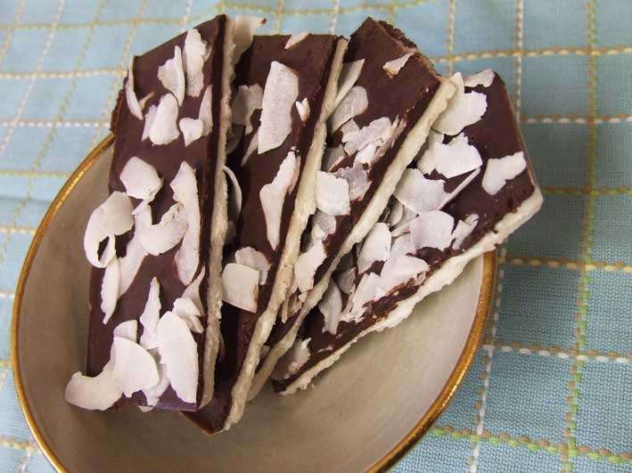 100 percent Chocolate Coconut manna confect with Coconut shavings serving