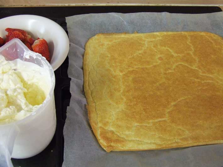 Components for Recipe for summer Strawberry Roulade Sponge with Cream - Gluten, Starch and Sugar FREE - sweetened with Stevia