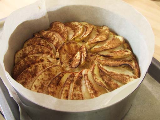 Paleo apple sauce cake sweetened with Stevia-in the pan