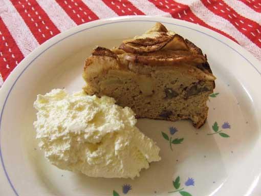 Paleo apple sauce cake sweetened with Stevia-slice with cream
