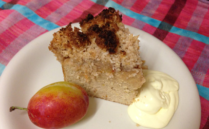 Paleo plumb crumble served with jersey cream