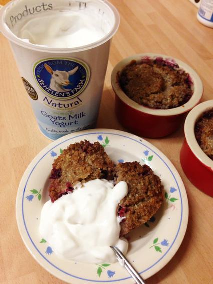 Wild Blackberry mini paleo crumbles with goats yoghurt