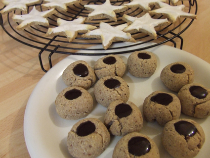 Thumb print christmas cookies -sugar and gluten free