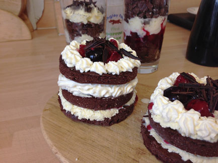 Mini black forest layer birthday cakes gluten and sugar free with